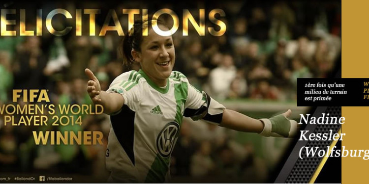 NadineKessler#Fifa women's player 2014# Wolfsburg #lesfeminines.fr