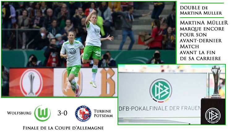 Wolfsburg remporte sa deuxième finale (3-0) pour jouer «la troisième» le 9 mai.