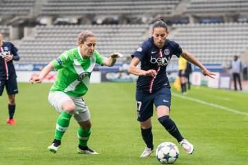 Aurélie Kaci, sous les couleurs du PSG, lors de la demi-finale face à Wolfsburg. Crédit Giovanni Pablo. Lesfeminines.fr