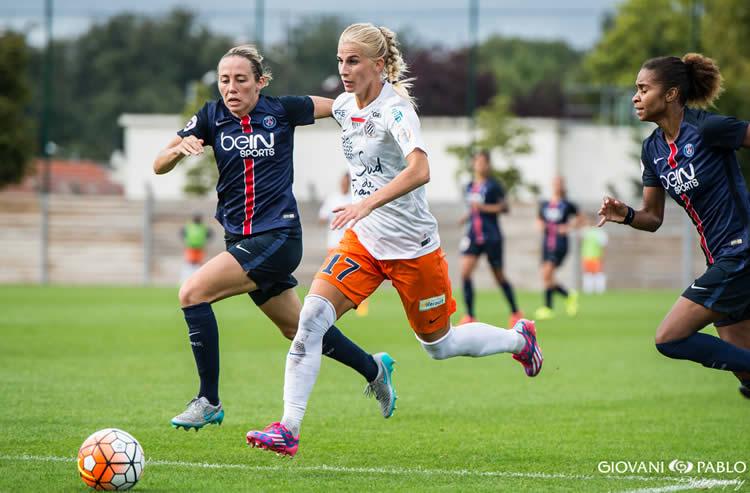 Sofia Jakobsson. PSG-Montpellier. Crédit Giovanni Pablo. Lesfeminines.fr