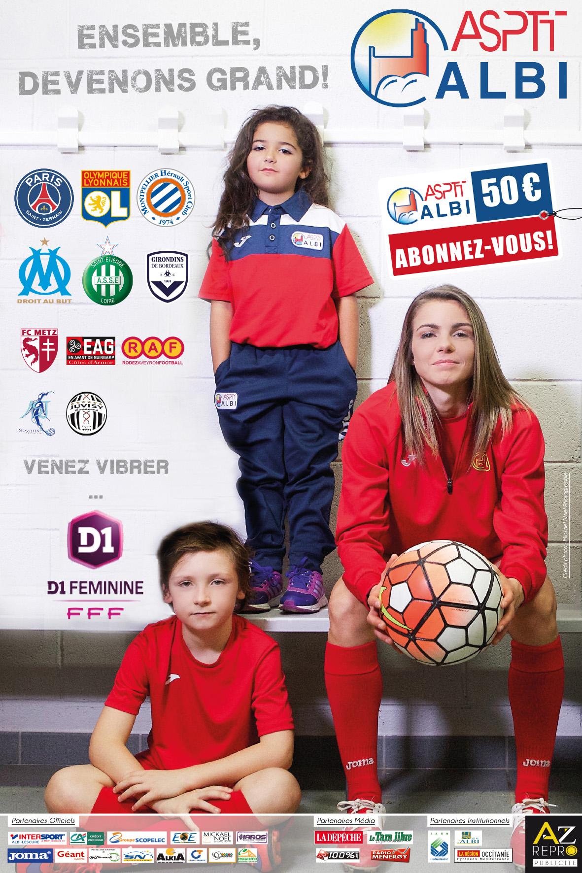 D1F – 22J – Le sympathique Albi Asptt accompagne l'Olympique de Marseille en D2F
