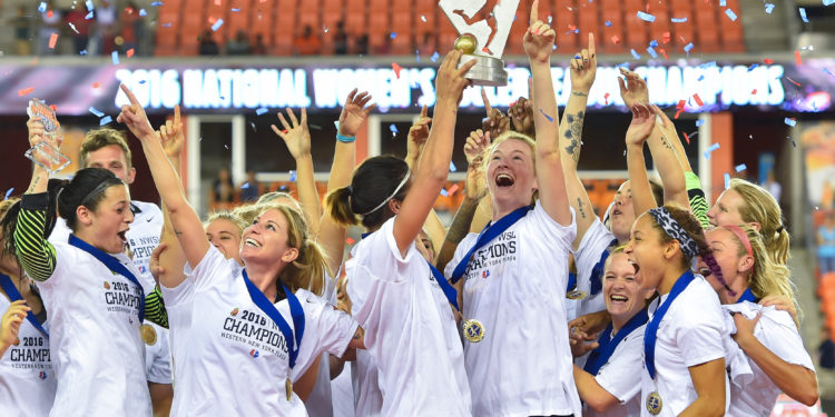 Houston, TX - Sunday Oct. 09, 2016: Western New York Flash celebrate after a National Women's Soccer League (NWSL) Championship match between the Washington Spirit and the Western New York Flash at BBVA Compass Stadium. The Western New York Flash win 3-2 on penalty kicks after playing to a 2-2 tie.