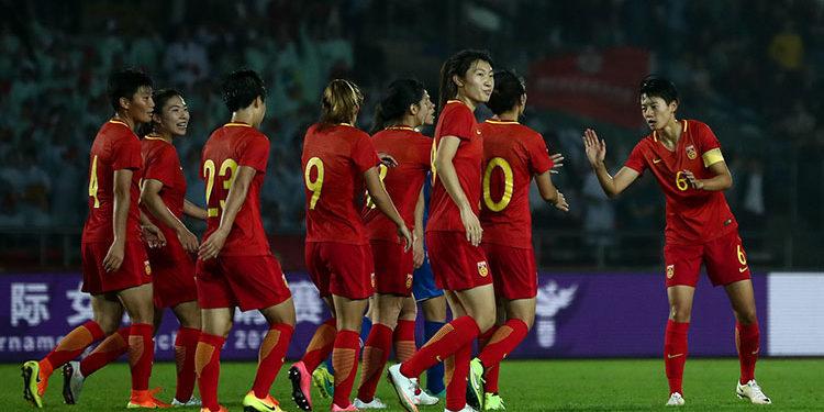 Les Roses d'Aciers pour le deuxième but de la Chine face à l'Islande. Crédit. lesfeminines.fr