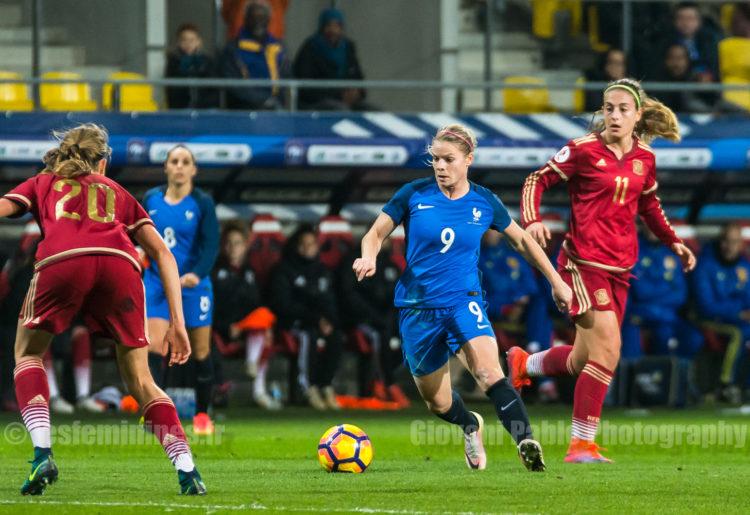 Eugènie Le Sommer lors de France-Espagne (1-0). Crédit Gianni Päblo. Lesfeminines.fr