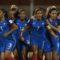 Delphine Cascarino et l'équipe de France après son ouverture du score face à l'Allemagne. crédit FIFA. lesfeminines.fr