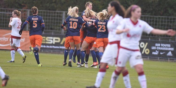 Montpellier ouvre le score face aux Girondins de Bordeaux. (1-0) dans les vingt dernières minutes. Crédit Montpellier. Lesfeminines.fr