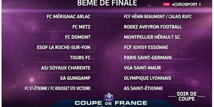 Le tableau des 1/8è de finale de la Coupe de France. Crédit fff. lesfeminines.fr