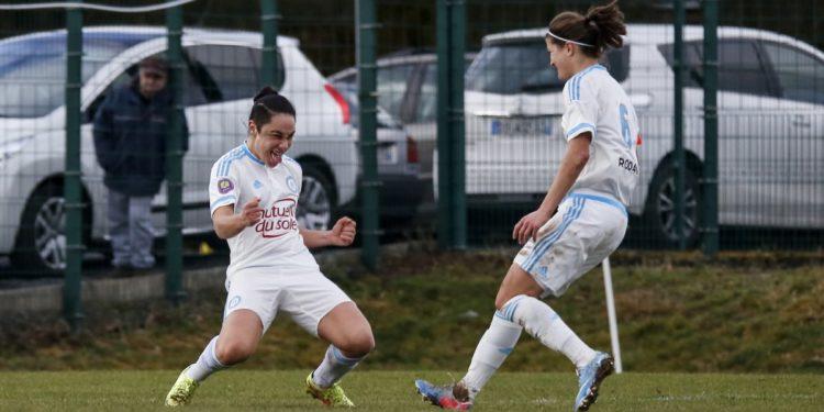 Sandrine Bretigny. Joueuse décisive face au PSG, marque le second but. (2-0). Crédit OM.net. Lesfeminines.fr
