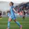Kosovare Asllani égalise face à l'Olympique Lyonnais (1-1) en 1/2F aller de la WCL 2017. Crédit ManCity. Lesfeminines.fr