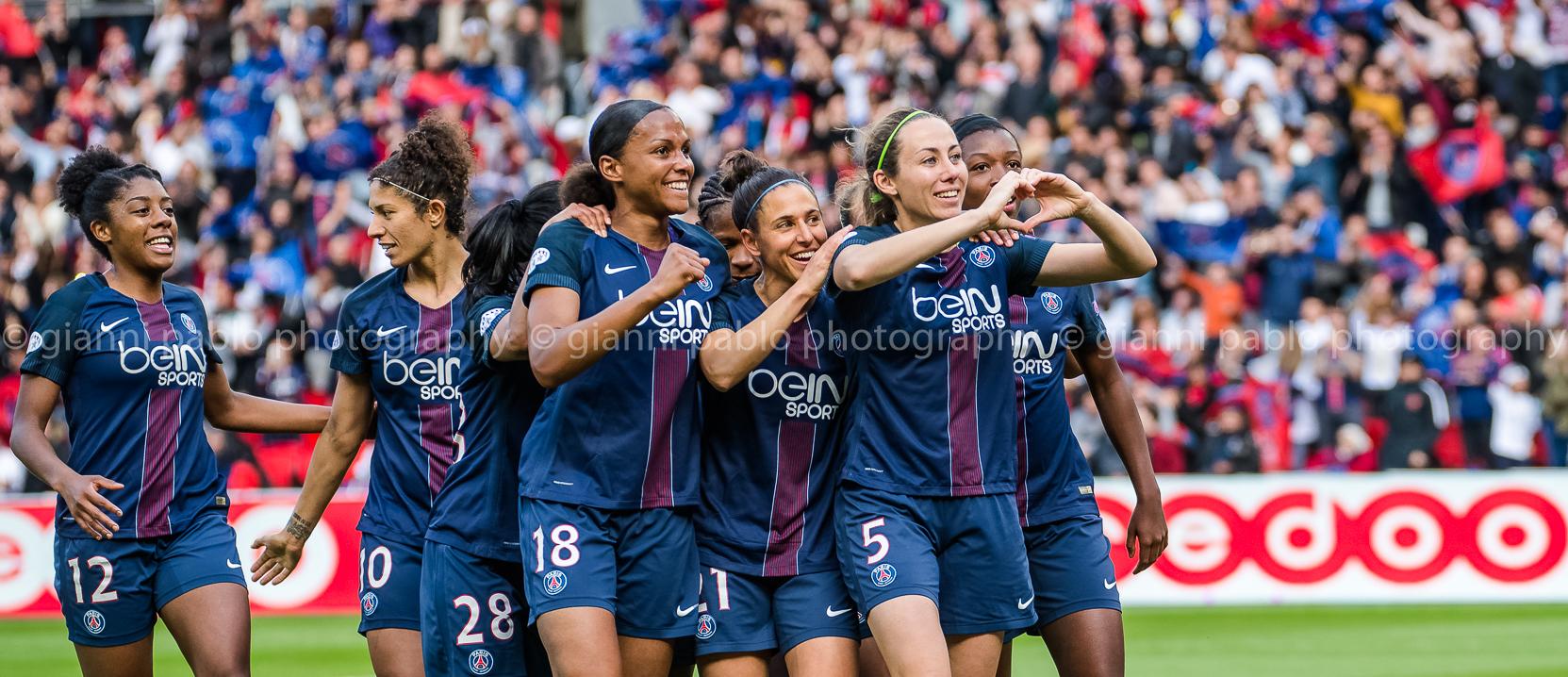 La photo de la qualification en finale de la WCL pour le PSG. Crédit Giavanni Pablo. Lesfeminines.fr