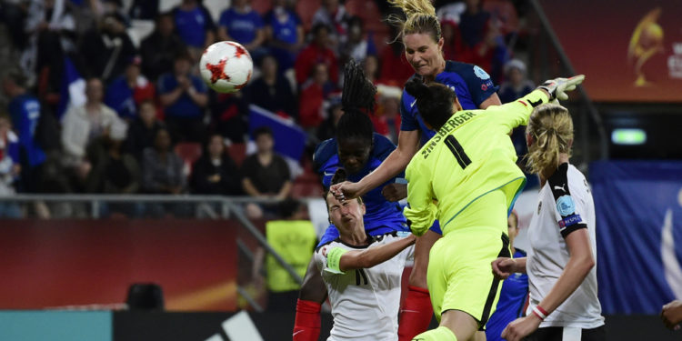France's midfielder Amandine Henry scores during the UEFA Women's Euro 2017 football