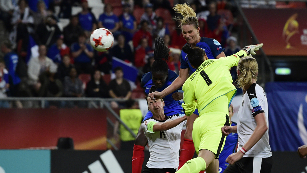 France's midfielder Amandine Henry scores during the UEFA Women's Euro 2017 football