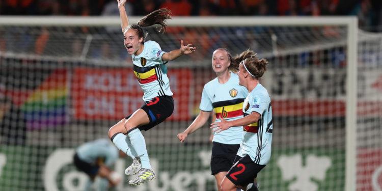 Wullaert égalise pour la Belgique. Crédit UEFA. lesfeminines.fr