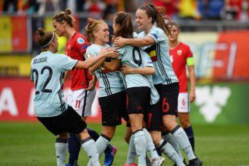 Janice Cayman confirme la victoire belge avec son second but (2-0 à la 67'). Crédit UEFA. lesfeminines.fr