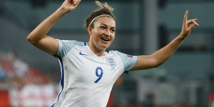 Jodie Taylor, Angleterre, auteure du premier triplé de la compétition. Crédit UEFA. lesfeminines.fr