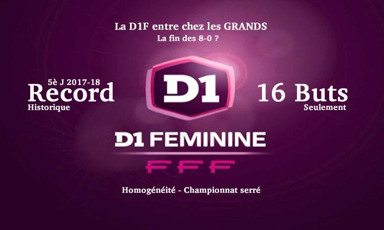 5è journée de la D1F. Un record historique avec 16 buts seulement de marqués en championnat. Le chemin vers l'homogénéité. Crédit. lesfeminines.fr