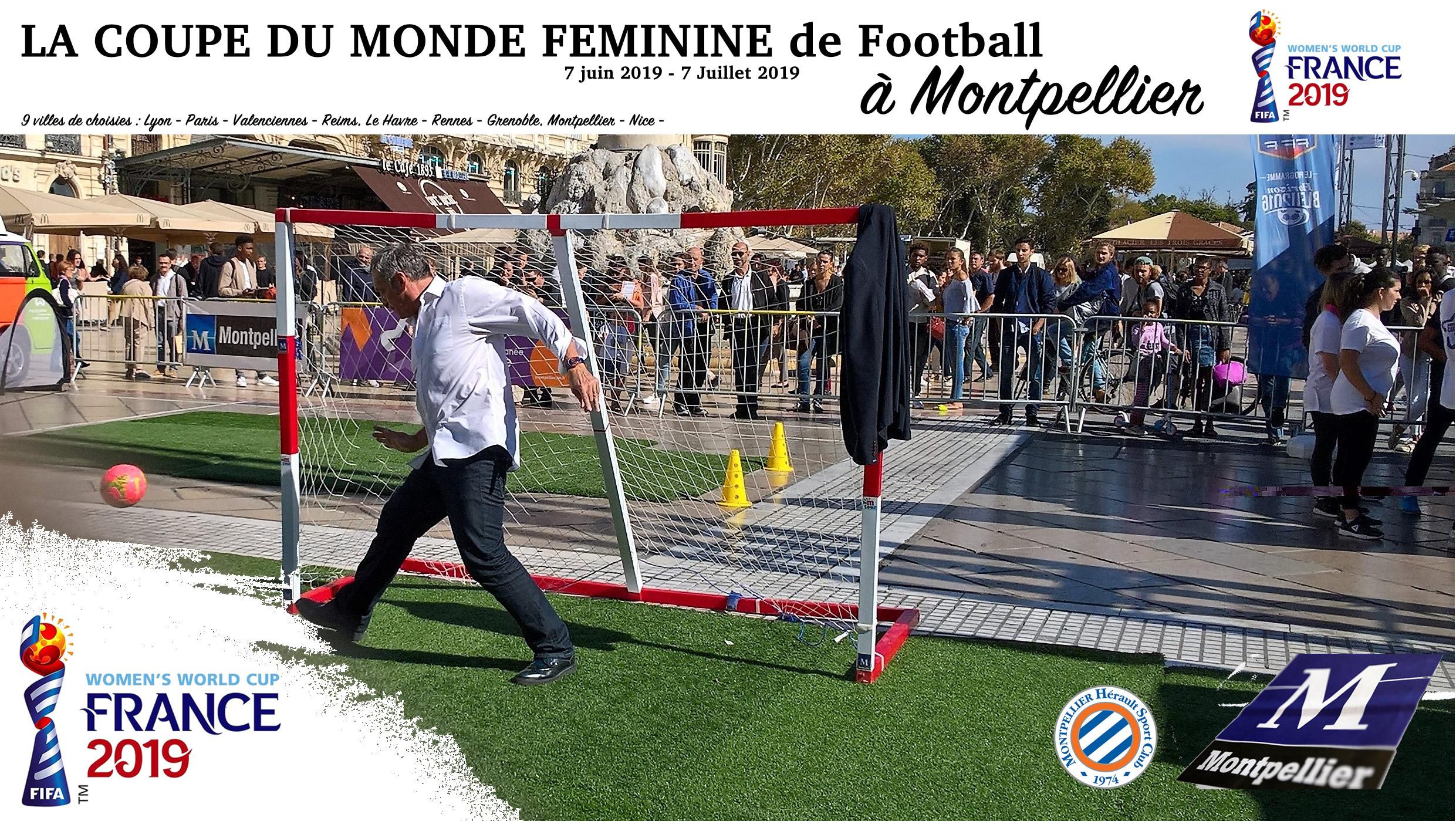 """Le Maire de Montpellier, Philippe Saurel, en pleine démonstration face aux jeunes joueuses de Montpellier. """"Le moment de briller"""". Crédit JL Morin. Lesfeminines.fr"""