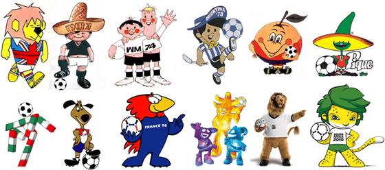 toutes les mascottes masculines des Coupes du Monde. Crédit lesfeminines.fr